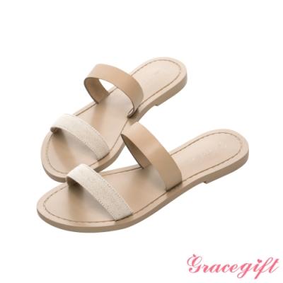 Grace gift X Samantha-聯名雙條帶平底涼拖鞋 米白