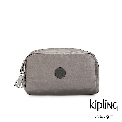 Kipling 低調質感金屬灰褐色長形化妝包-GLEAM