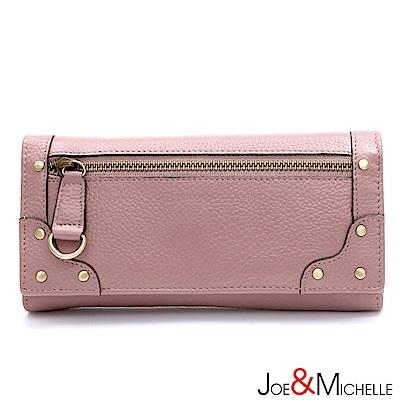 J&M 真皮歐迪爾率性長夾 粉嫩紫