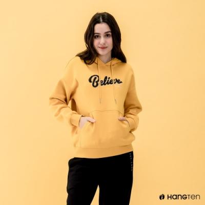 Hang Ten-女裝-HOPE-束口內刷毛Believe繡字連帽T恤-黃色