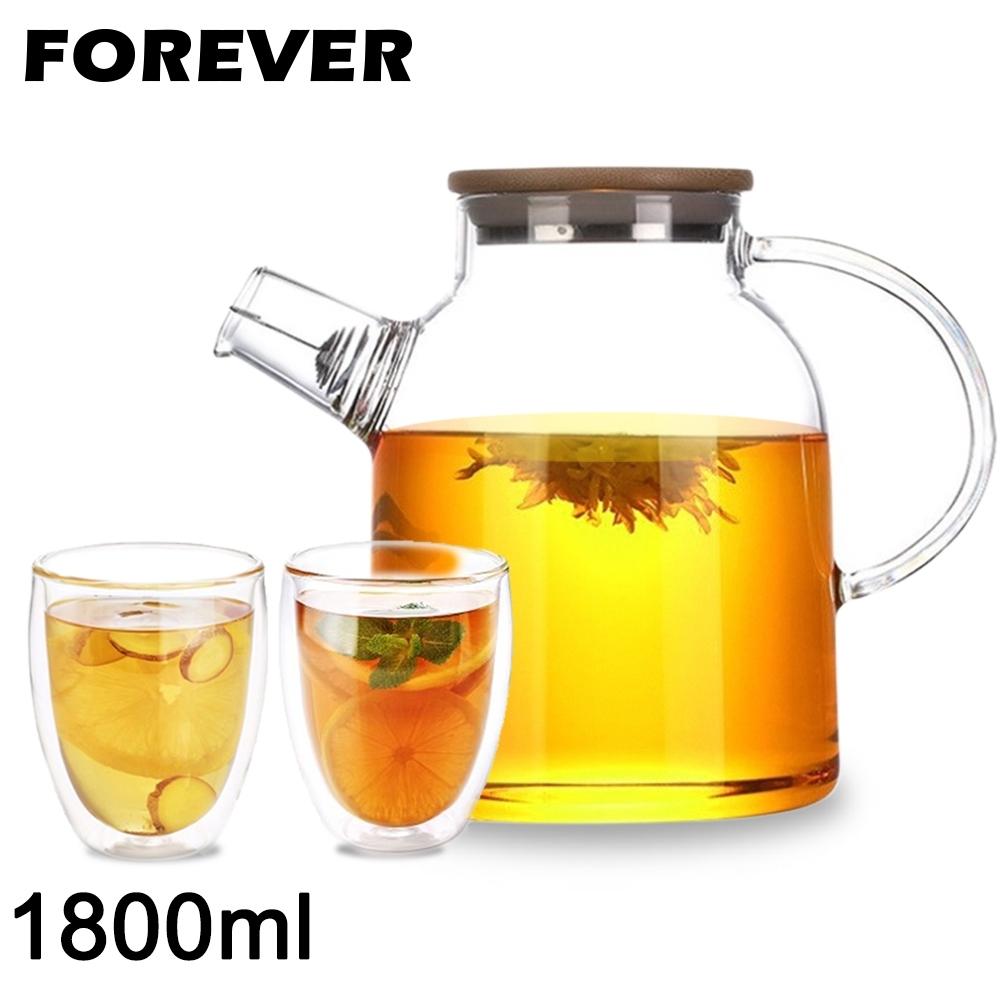 日本FOREVER 日式竹蓋耐熱玻璃把手花茶壺1800ML附雙層隔冰耐熱玻璃杯250ML-2入