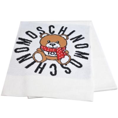MOSCHINO 義大利製TOY圍巾小熊字母LOGO圖騰混羊毛圍巾(米色)