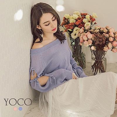 東京著衣-yoco 浪漫可人船型一字領針織綁帶長袖上衣-S.M.L(共二色)