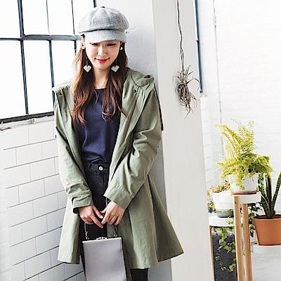 高含棉後蝴蝶結綁帶造型長版連帽外套-OB嚴選