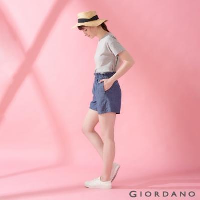 GIORDANO 女裝荷葉邊褲頭鬆緊薄牛仔短褲-71 深藍色