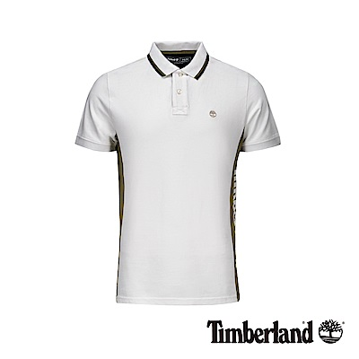 Timberland 男款白色側邊品牌標誌短袖POLO衫|A1YHX