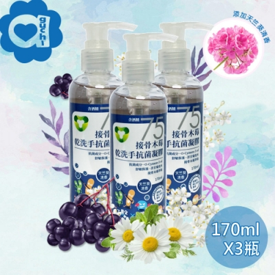 菌寶貝接骨木莓乾洗手酒精凝膠 510ml(170mlX3瓶)