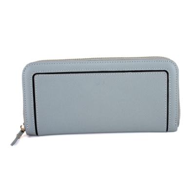 J II-長夾 ㄇ型框線牛皮長夾-灰藍色-5102-4