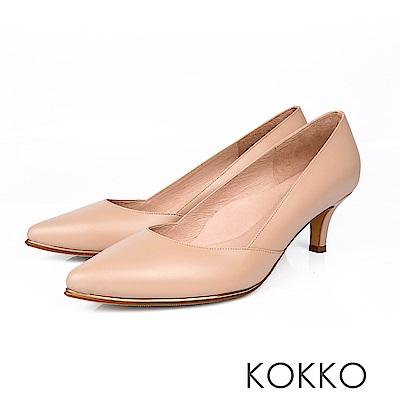KOKKO - 女王品味尖頭鑲嵌金屬真皮高跟鞋 - 法式裸