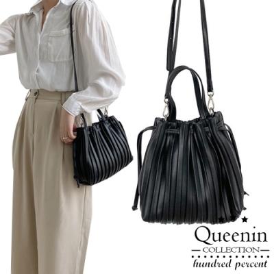 DF Queenin日韓 - 日系自然皺褶兩way手提斜背包-共2色