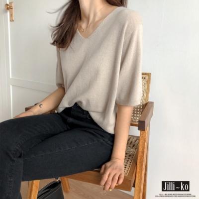 JILLI-KO V領純色寬鬆彈力針織T恤- 黑/杏/粉