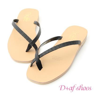 D+AF 簡約夏氛.編織皮面夾腳涼拖鞋*黑