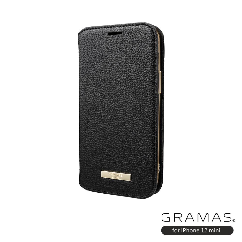 GRAMAS 東京職人工藝iPhone 12 mini (5.4吋)專用 時尚掀蓋式皮套手機殼-Shrink系列(黑)