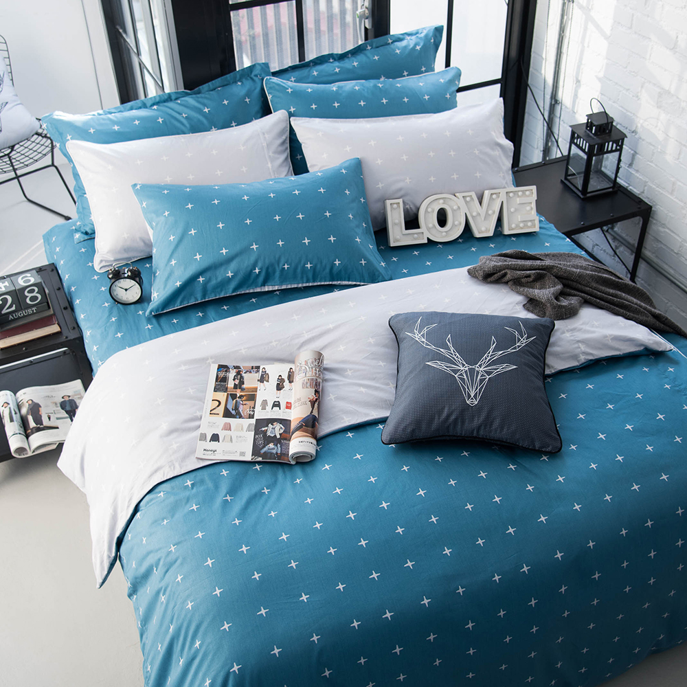 OLIVIA  阿波羅 藍 加大雙人床包冬夏兩用被套四件組 200織精梳純棉