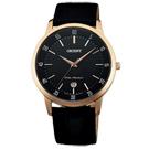 ORIENT東方簡約質感皮革男錶手錶-黑X玫瑰金框/39mm
