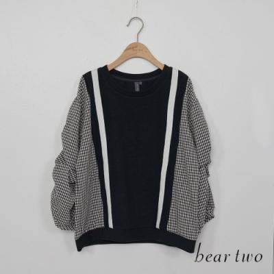 beartwo-寬鬆拼接抛袖上衣-深藍