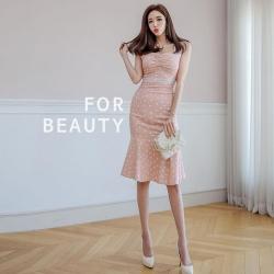 IMStyle 點點花邊魚尾連身洋裝(粉色)