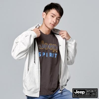 Jeep 男裝 休閒保暖抽繩連帽外套-灰白色