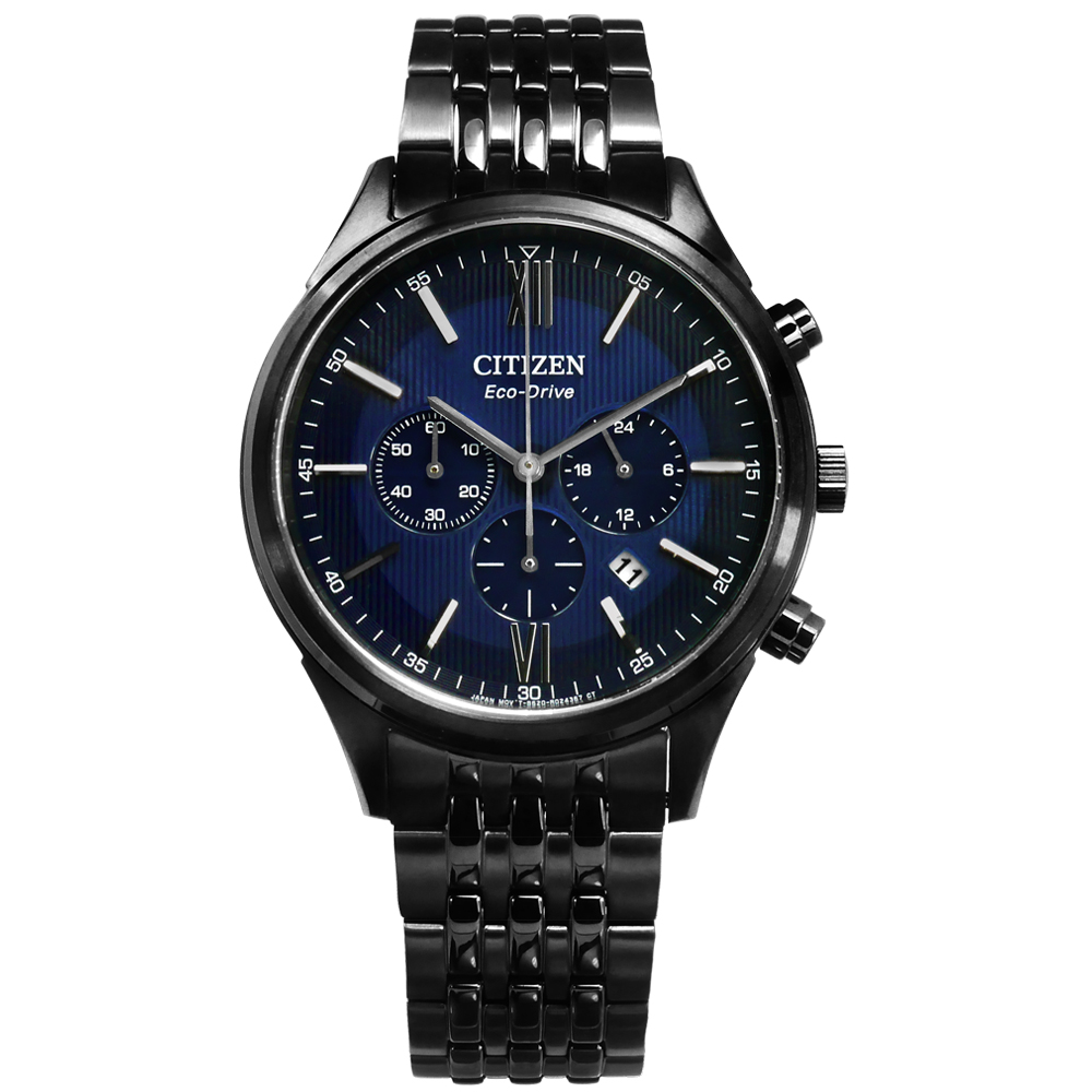 CITIZEN 光動能亞洲限定計時日本機芯手錶(CA4415-81L)-藍x鍍黑/42mm