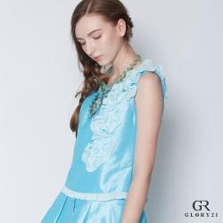 GLORY21 壓褶荷葉裝飾背心_藍