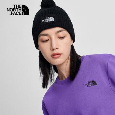The North Face北面男女款深藍色舒適保暖毛球針織帽|3FN3H2G