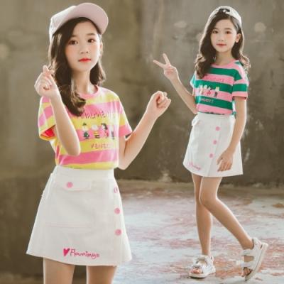 小衣衫童裝 中大童夏季寬條拼色短袖上衣白色短裙套裝1090328