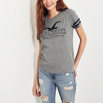 海鷗 Hollister 經典刺繡文字大海鷗短袖T恤(女)-灰色