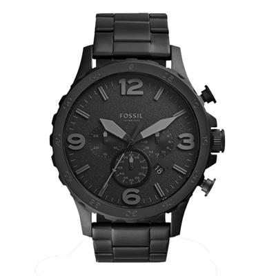 FOSSIL 重裝教士三眼運動計時腕錶-IP黑/50mm