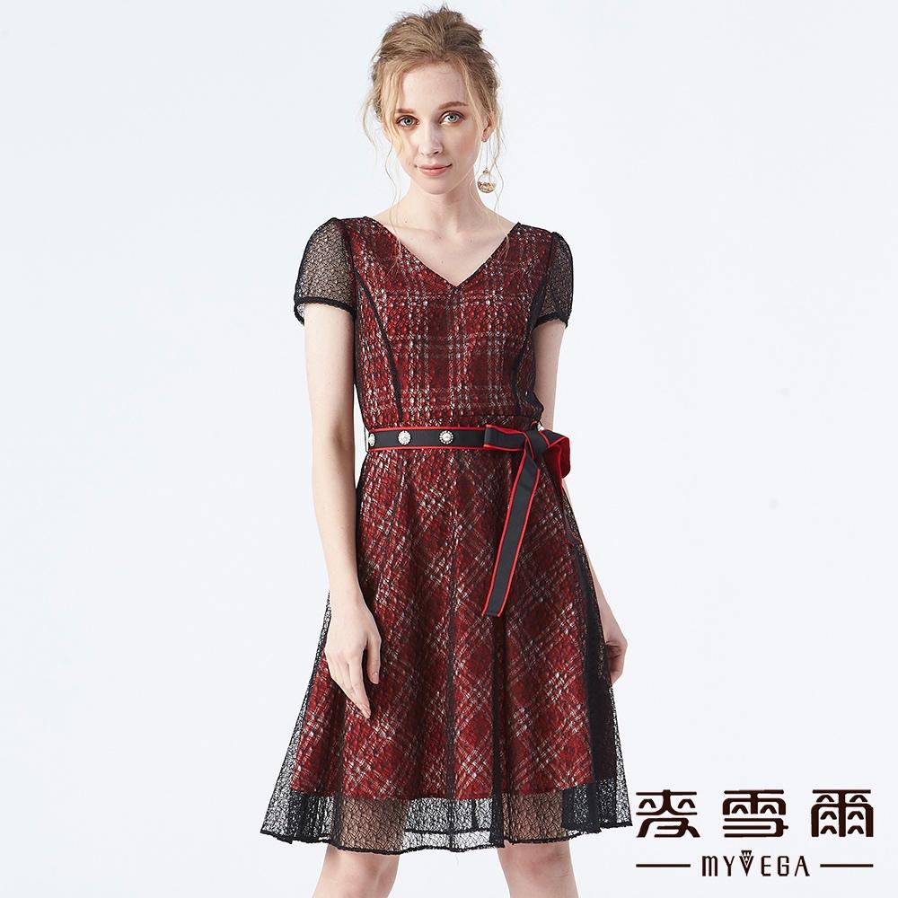 【麥雪爾】透視格紋網紗水鑽洋裝