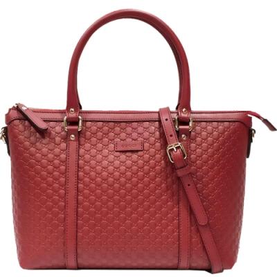 GUCCI   經典雙G緹花全皮革壓紋兩用托特包(紅色)