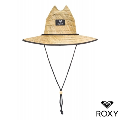 【ROXY】TOMBOY PRINTED 戶外運動草編帽 黑