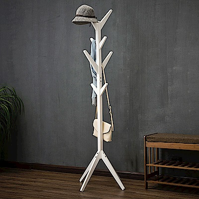 【HappyLife】木質落地衣帽架 衣櫥衣櫃收納 吊衣架 掛衣架