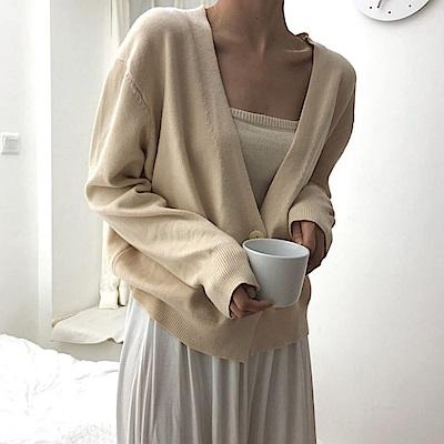 La BellezaV領素面包心紗三釦針織短版外套