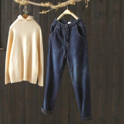 棉質抽繩繫帶鬆緊腰加絨牛仔褲寬鬆加厚長褲-設計所在