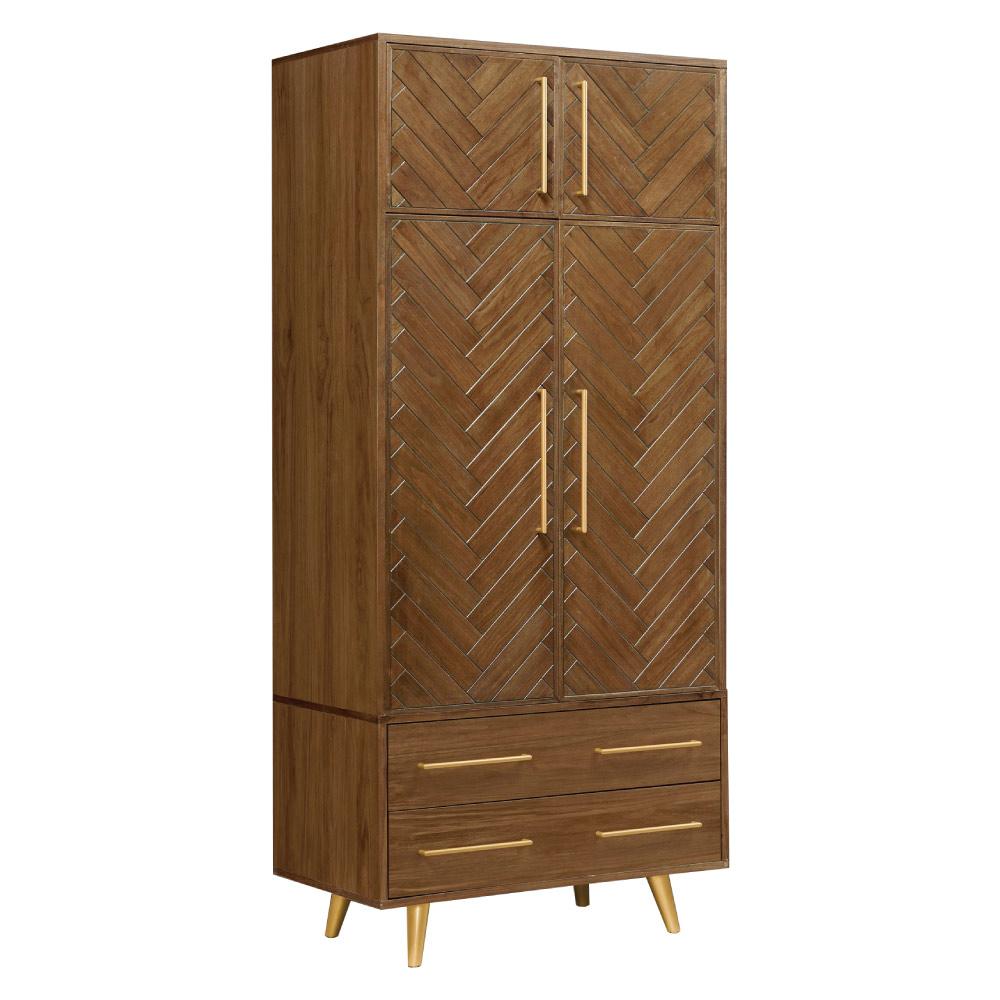 文創集 亞凱德3尺木紋加高衣櫃(二抽屜+吊衣桿+高收納櫃)-90x60x210.5cm免組