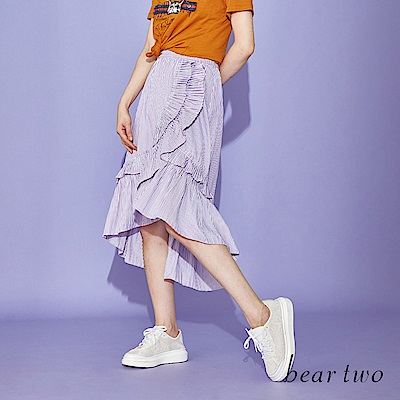 beartwo 不對稱荷葉條紋中長裙(二色)