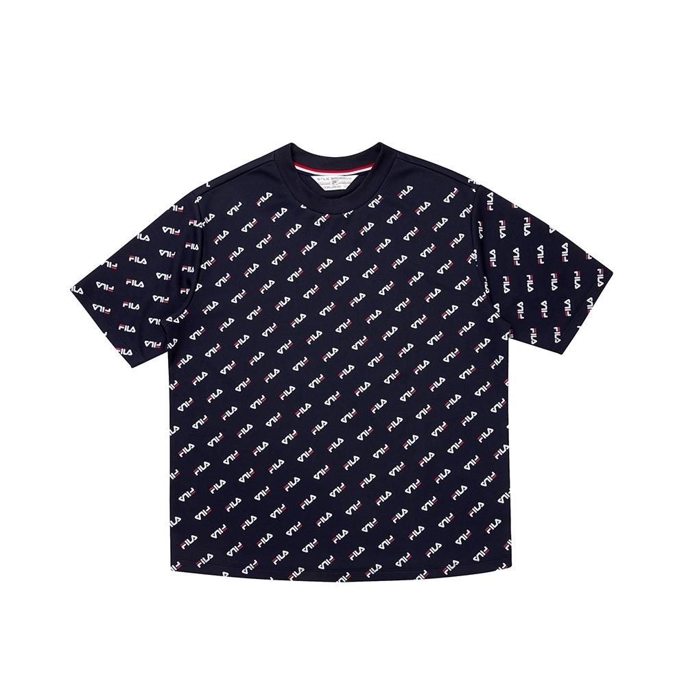 FILA 女吸濕排汗圓領T恤-丈青 5TEU-1464-NV