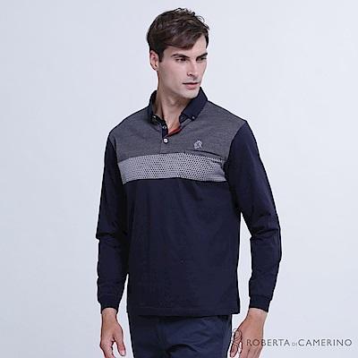 ROBERTA諾貝達 台灣製 時尚型男 純棉雙扣長袖POLO衫  深藍