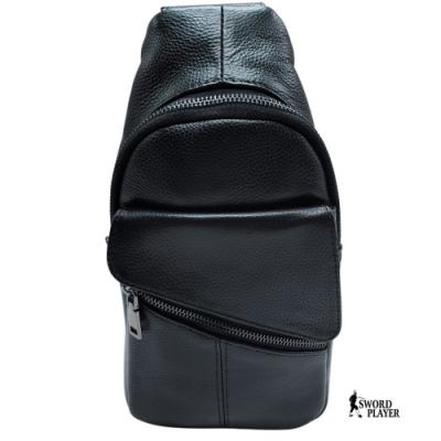 【SWORD PLAYER】胸包進口牛皮男用胸包斜跨包-黑S88-02201BK