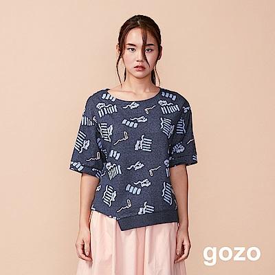 gozo 藝術幾何意象羅紋拼接五分袖上衣(二色)