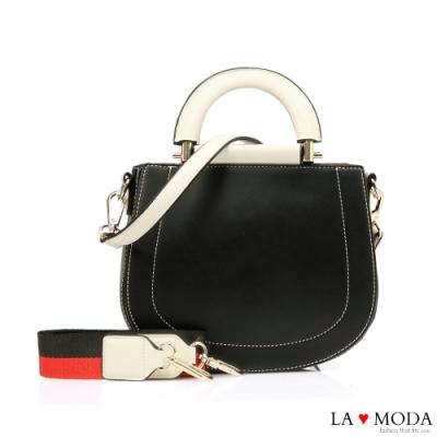 La Moda 精品質感多背法撞色設計感肩背手提包(黑)