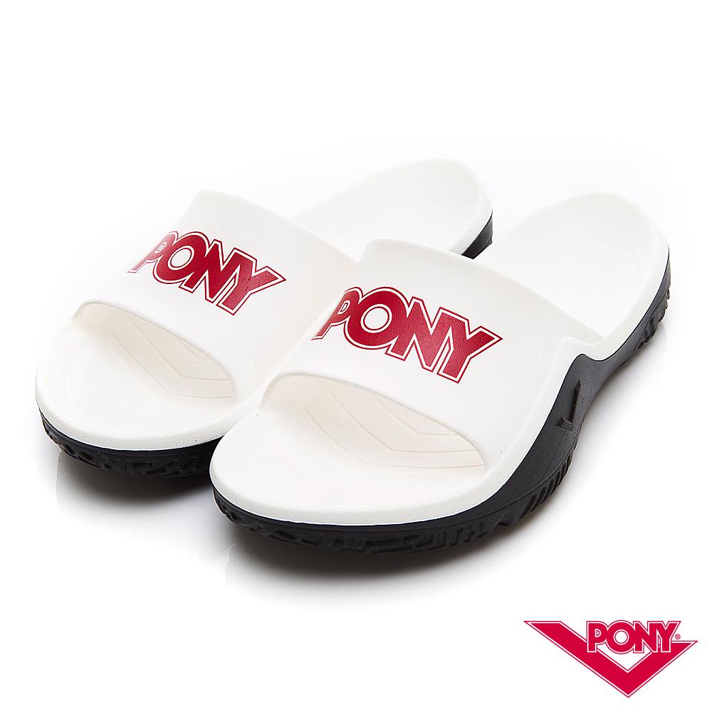 【PONY】輕量抗菌防臭防滑運動拖鞋 涼鞋 男鞋 女鞋 白色