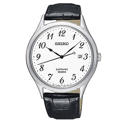 SEIKO 時光領袖藍寶石鏡面石英腕錶(SGEH75P1)-白/40mm