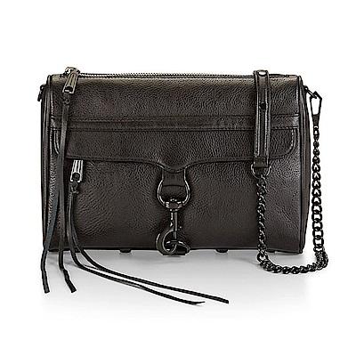REBECCA MINKOFF MAC  黑色皮革黑鍊側背包(大款)