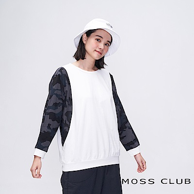 MOSS CLUB INLook 休閒迷彩袖拼接棉T(白色)