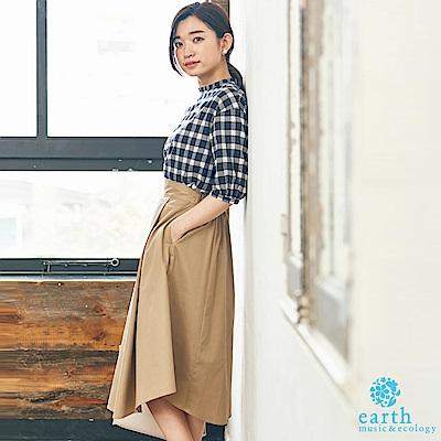 earth music 【SET ITEM】格紋摺邊領上衣+打摺長裙