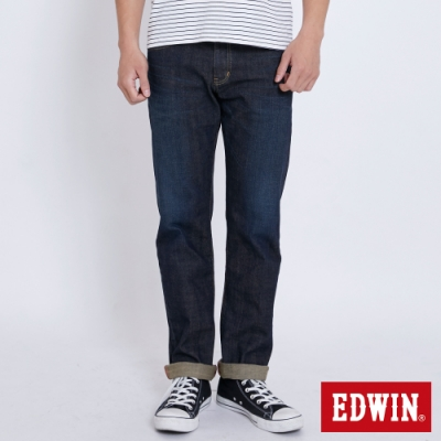 EDWIN EDGE 加大碼 復刻五袋紅線直筒牛仔長褲-男-中古藍