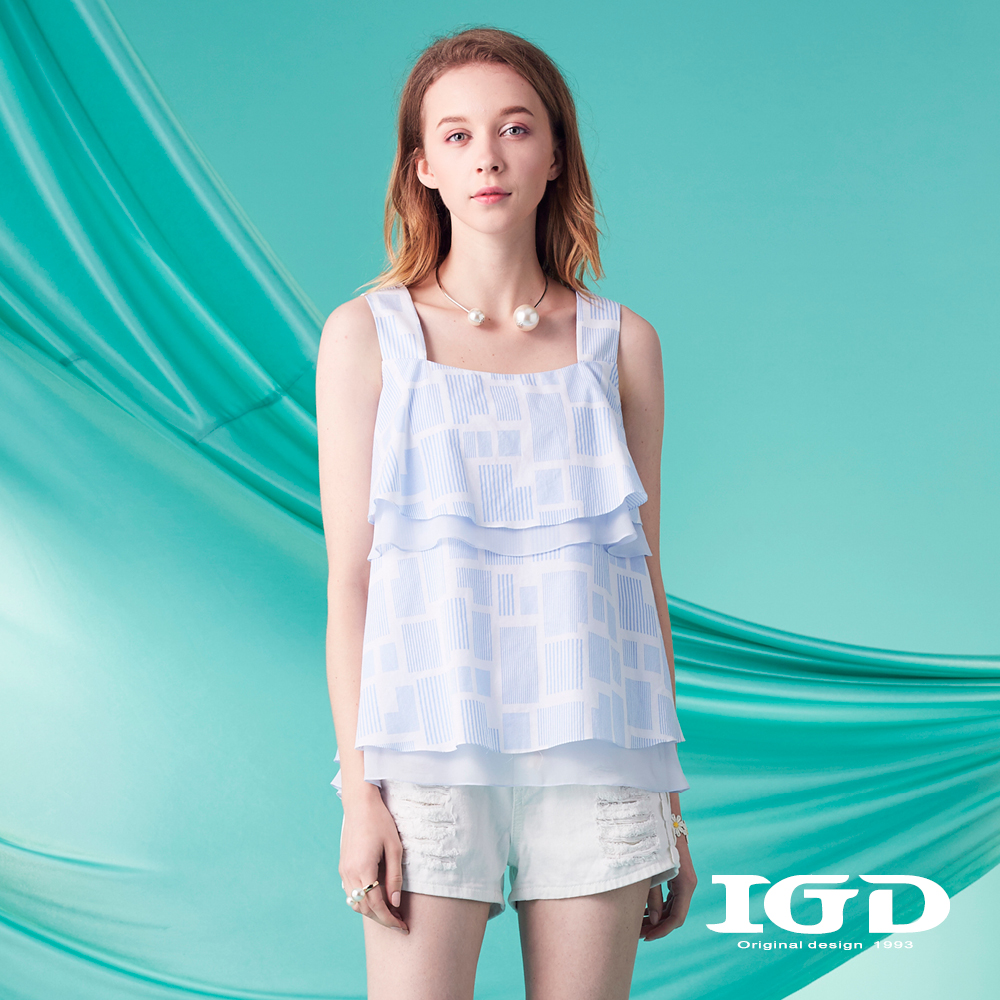 IGD英格麗 清爽細條印花背心-藍
