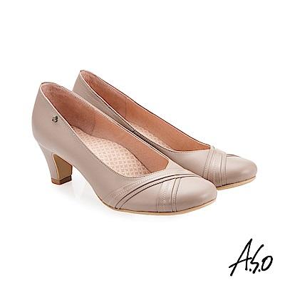 A.S.O 義式簡約 交叉裝飾鞋面高跟鞋 卡其