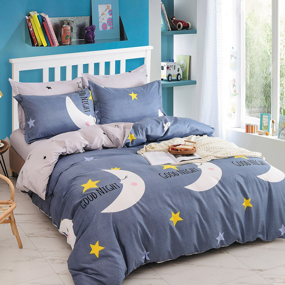 Goelia 夕顏月光 親膚舒柔活性印染超細纖雙人床包枕套三件組